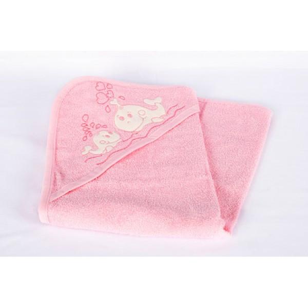 Розова бебешка хавлия с украса рибки и сърчица