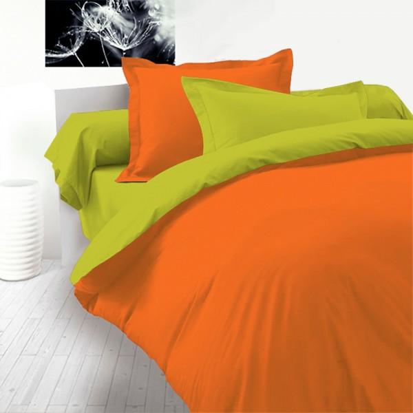 Спално бельо с олекотена завивка ЗЕЛЕНО и ОРАНЖЕВО