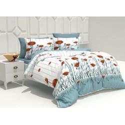 Спално бельо 100% Памук Макове Аква