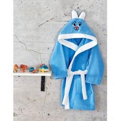 Детски халат с ушички в Синьо