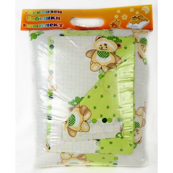100% Памук Зелен Бебешки спален комплект с мечета