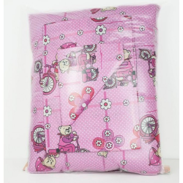 100% Памук Бебешки спален комплект РОЗОВ МЕЧО