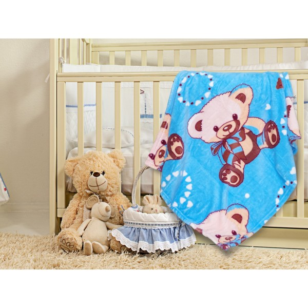 Бебешко одеяло в Синьо с украса МЕЧЕ 70/90