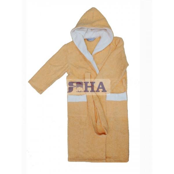 Детски халат в цвят ПРАСКОВА двойна качулка
