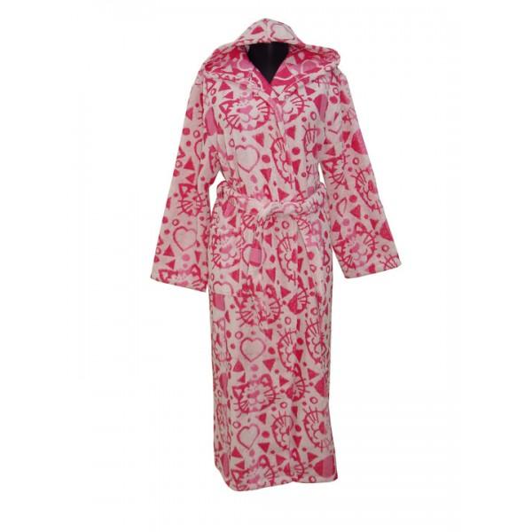 Детски халат с украса Котета в РОЗОВО И БЯЛО