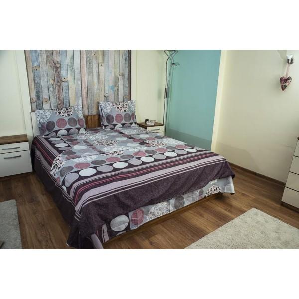 Микрофибърно спално бельо с украса цветни кръгове